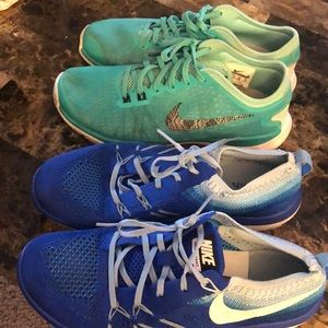 2 pairs of Nike Flynit and Flex supreme tr4)
